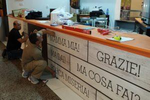 Cafeteria barra montaje